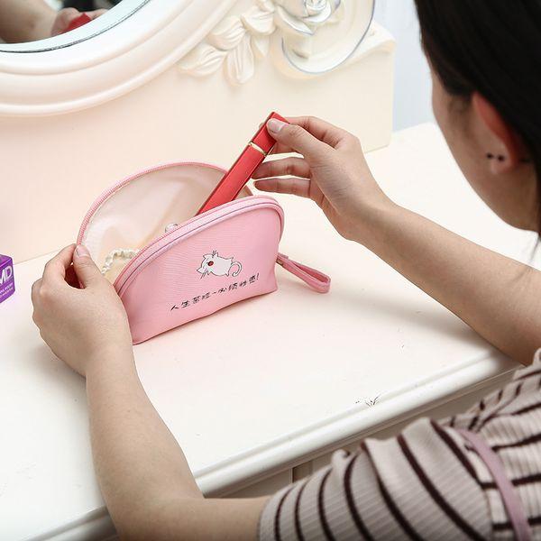 Half Moon Mini Travel Cosmetic Bag Beauty Bag Travel Handy Organizer Waterproof Makeup Pouch Tote Organizer for Women Girls