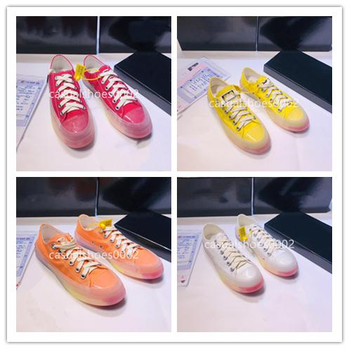 Heiß!! 2019 neue stilvolle Frauen Freizeitschuhe Luxus Designer Schuhe bunten String Label Gelee Regenbogen Boden Plattform Segeltuchschuhe A06