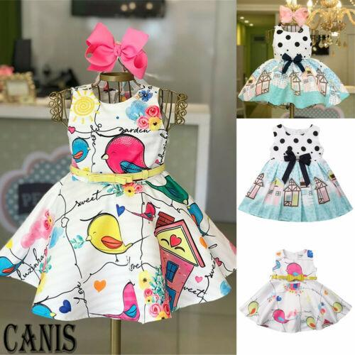 2019 Toddler Dress Infant Kid Baby Girls Vestidos de dibujos animados Princesa Pageant Fiesta en la playa Niños Verano Tutu Sundress Nuevo