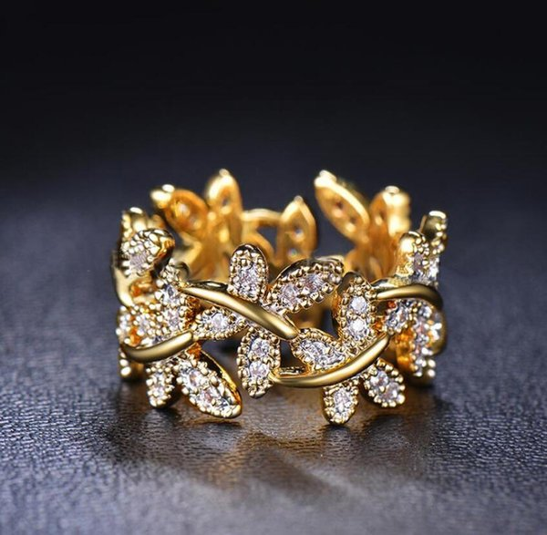 2019 Size 5-10 New Arrival Luxury Jewelry Cubic Zirconia Pave CZ Diamond Butterfly Cute Women Wedding Party Flower 925 Rings For Lovers Gift