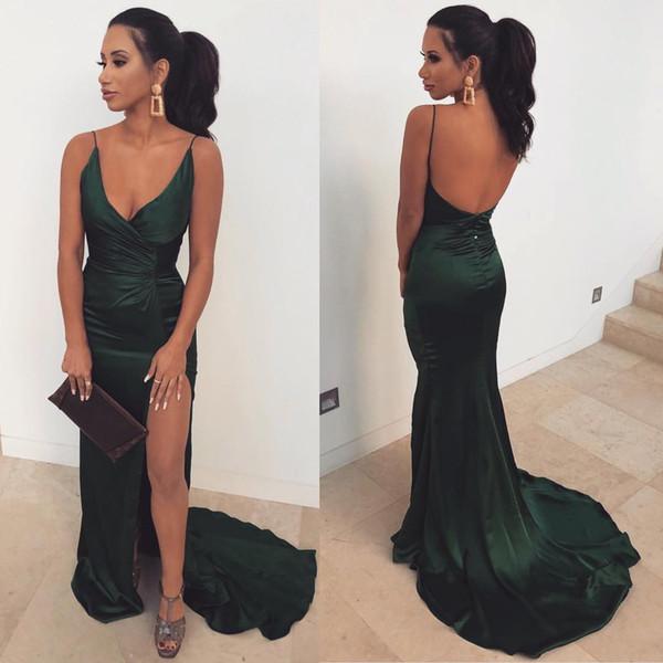 Bretelles vert foncé robes de bal sirène spaghetti longues pas cher long dos nu côté robe de soirée Split robes de demoiselle d'honneur