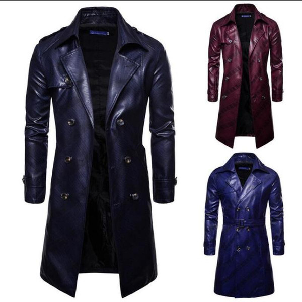 Men Winter Warm Trench Jackets Homme Mens New Fashion Long PU leather Trench Coat Autumn Long Jacket For Men Slim Fit Coat Mens
