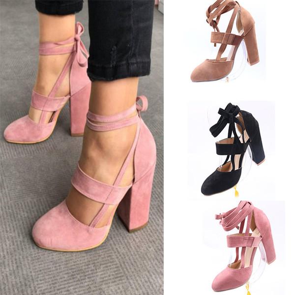 Дизайнерские туфли из Европы и США новой заостренной замшевой толстой пятки с мелким ртом и дикими женскими туфлями на высоком каблуке красного цвета.