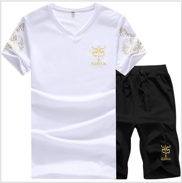 Estate Uomo Set T-shirt a maniche corte T-shirt a due pezzi + Pantaloncini Completo Completo sportivo Set da uomo Set da uomo Tuta da uomo