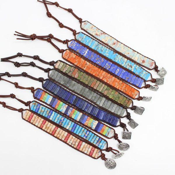 Hombres Mujeres Chakra Pulsera Joyería Hecha A Mano Multi Color Tubo de Piedra Natural Granos Abrigo de Cuero Pulsera Parejas Pulseras Regalos Creativos 10 Co