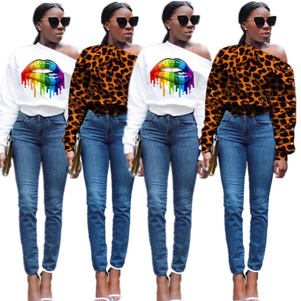 Mulheres roupas casuais inverno leopardo queda Alças hoodies camisolas Botão pullover S-2XL (só tem hoodies) frete grátis DHL 2034