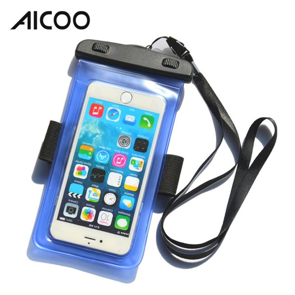 AICOO Mobile Phone Waterproof Bag for Summer Diving Swimming Less Than 6 Inch Universal With Arm Belt Colorful PVC Waterproof Bag OPP