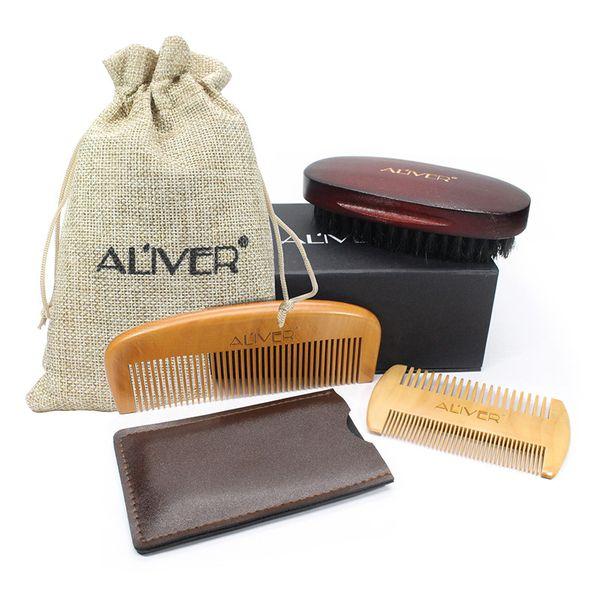 top popular ALIVER 3pcs set Fashion Men Beard Kit Styling Tool Beard Styling Care Bristle brush Peach comb gift sets B 2021