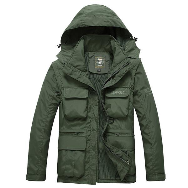 abrigos larga de los hombres multi-bolsillo de primavera y otoño nuevas capas ocasionales al aire libre de la chaqueta chaqueta de estilo militar de los hombres