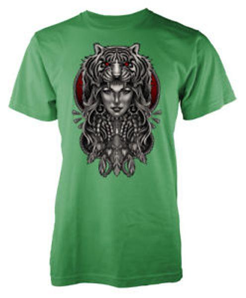 Indian Girl Tiger Hat Big Cat adult t-shirt