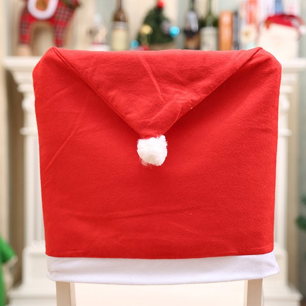 4Pcs/set Christmas Cap Chair Covers Xmas Mr&Mrs Santa Claus Red Hat Chair Back Cover For Christmas Dinner Table Party Decor