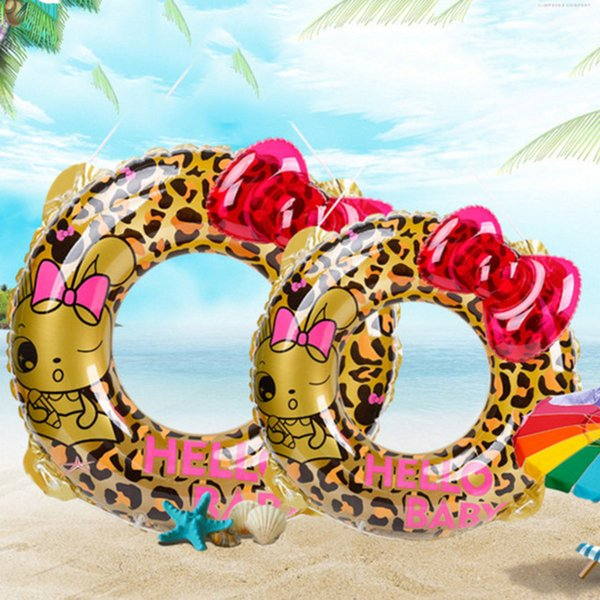 Girl Inflatable Swimming Circle Air Mattress Leopard cute Float Seat Boat Tube Ring Rubber Swim Swimming Pool Toys Ring Portable