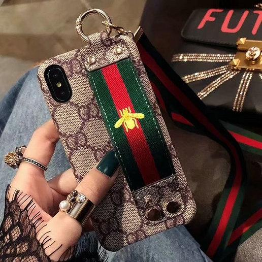 Embroidered bee wristband phone case shell for iphone XS MAX XR X 7 7plus 8 8plus 6 6plus hard back cover