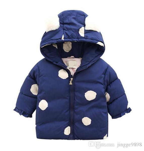 Herbst und Winter 2019 New Kids'Clothing Mädchen Big Fluktuations Netter Mantel-Kinder wärmen Gürtel Hut Cotton Kleidung