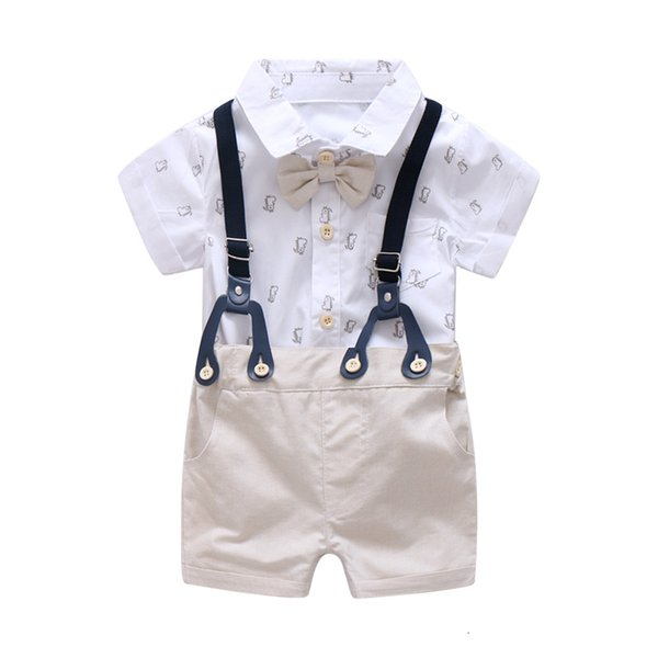 0-24M Newborn Baby Boy Clothes Set Formal Suit for Toddler Clothes Set Short Sleeve Romper+Khaki Shorts Boys Overalls SuitMX190912
