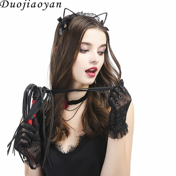 Europe and the United States new sexy lingerie accessories feather flirt stick lace rabbit ears headband clavicle chain collar set