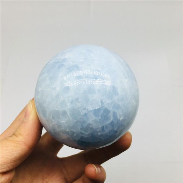 Envío de la gota piedra preciosa Piedra celeste azul natural Cristal esfera meditación Reiki curación bola de cristal con soporte de vidrio