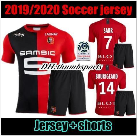 Kits hommes 19 20 maillots de foot de Stade Rennais Domicile 2019 2020 Rennes maillot de foot # 7 Sarr # 11 Niang # 14 BOURIGEAUD # 21 André # 23 Hunou footb