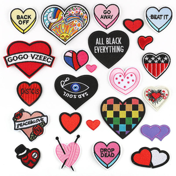 Red Heart Love Embroidery Patches For Clothes Black Heart Eye Sewing Iron On Patch Fabric Applique DIY Badge Stickers 24pcs Per Lot