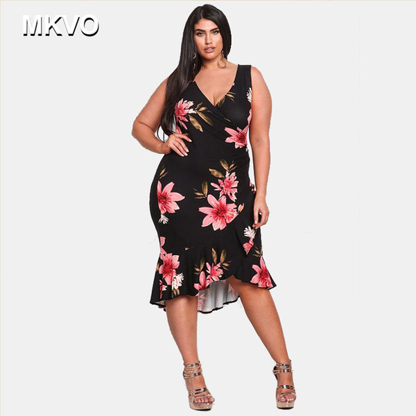 2019 Spring Summer Hot Season Selling Fashion V Neck Ruffled Large Size  Women\'S Dress Plus Size Sleeveless Printed Dress L 4XL All White Maxi Dress  ...