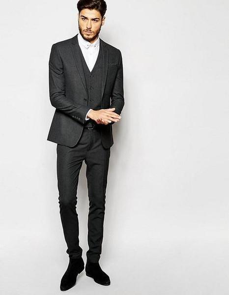 2 Pieces Dark Grey Suits Nice Elegant Men Suits For Work Wear Formal Prom Groomsmen Wedding Tuxedos (Coat+Pants+Vest+Tie)