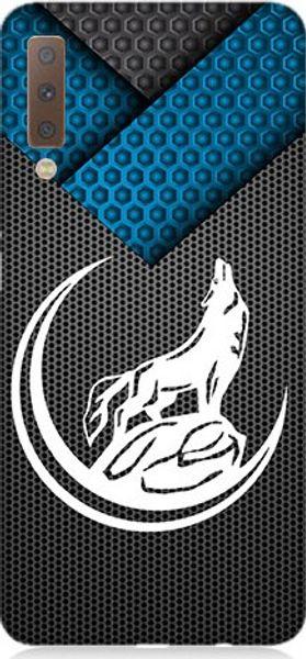 Для Samsung для галактики а7 teknomeg 2018 черно-белый волк и луна силиконового шаблона дизайна корпус корабля из индейки HB-003692619