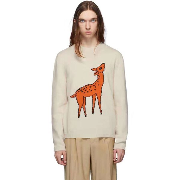 Mens Designer Sweater New Guccy High quality Catwalk Fashion Brand hoodie Men Women Sweater Beige Small Deer Knit Wool Line Luxury Pullover