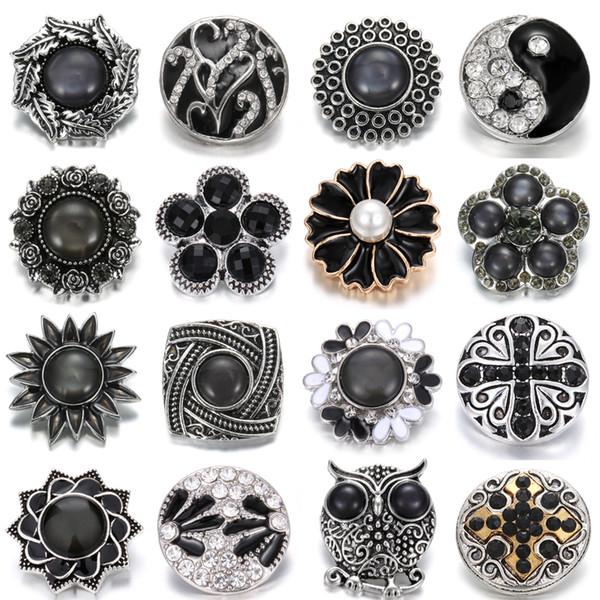 Nueva joyería Noosa flor negra 18 mm botones a presión de moda perforado cristal de metal jengibre corchetes DIY Noosa botón accesorios de la joyería