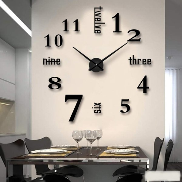 New 3d Diy Mirror Wall Clock Modern Design Living Room Decorative Roman Numbers Mirror Living Room Home Interior Deco Wall Clock Big Wall Clocks
