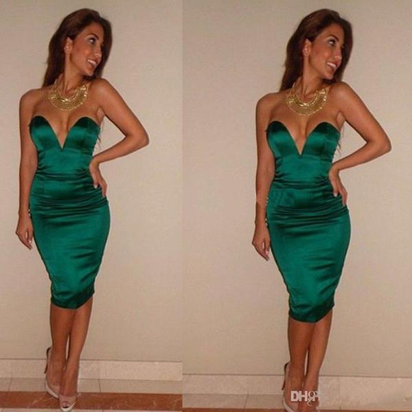 2019 cócteles vestidos de fiesta de color verde oscuro satinado cortos vestidos de baile Sheath Sweethart vestidos de noche formales