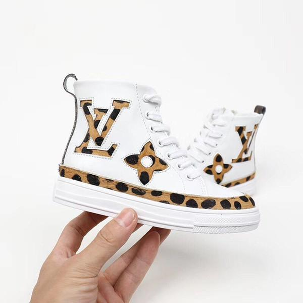 Üst Çocuk Çocuk Kız Erkek Harf Mesh Boots Sneakers Bebek Ayakkabı Çocuk Leopard Baskı ayakkabı
