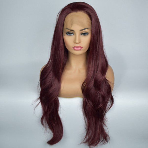Synthetic Hair Wig For Woman High Temperature Heat Resistant Fiber Hair Full Density Long Wavy Synthetic Lace Front Wigs