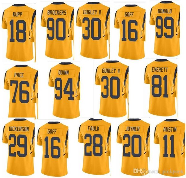 best authentic f5aa3 505fe RAMS Los Angeles #30 Todd Gurley #16 Todd Gurley #99 Aaron Donald 29 Eric  Dickerson #28 Men Women Youth Color Rush Elite Football Jersey Shirt Design  ...