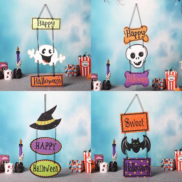Halloween Creative Home Room/ Bar Decorative Hanging Ornaments Pumpkin/ Bat/ Skull Thick Paper Card Hanging Tags