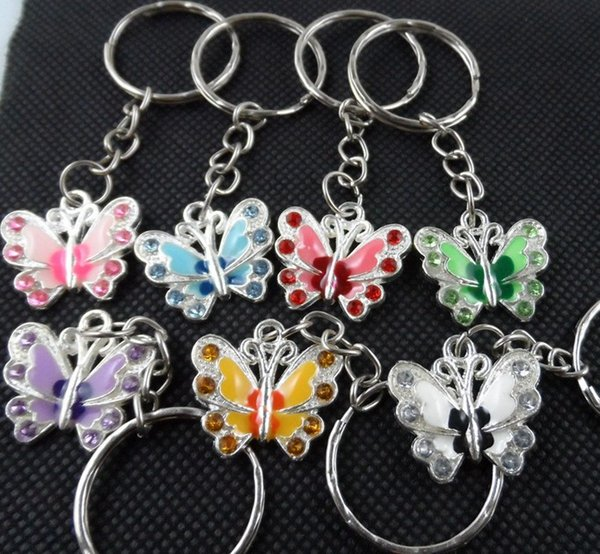 50pcs Silvers Vintage Cristal Borboleta Keychain Anel Para chaves do carro DIY Bag Chaveiro Bolsa Presente Jóias Acessórios