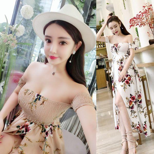 2 Colors Summer Fashion Women Chiffon Wear Slash Neck Short Sleeved Printed Irregular Trailing Long Skirt Sea Beach Dress for Vacation A0062