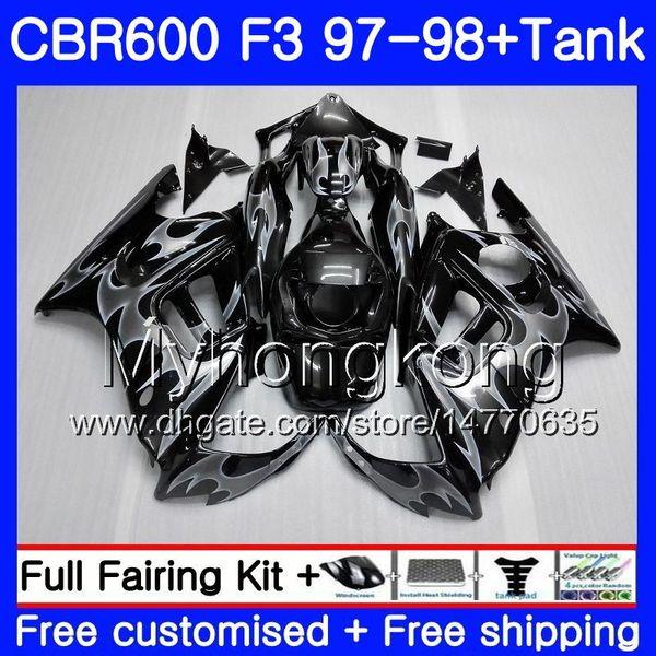 Cuerpo + Tanque para HONDA CBR600FS CBR 600F3 CBR 600 F3 FS 97 98 290HM.47 CBR600RR CBR600F3 1997 1998 CBR600 F3 97 98 Carenado Llamas plateadas calientes