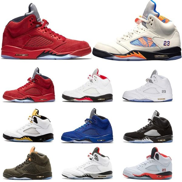 New 5 Men Basketball Shoes 5s Metallic Sliver Red Suede Game Royal White Grape Fire Red Black Camo s Grey Grape Wings Trainers Sneakers