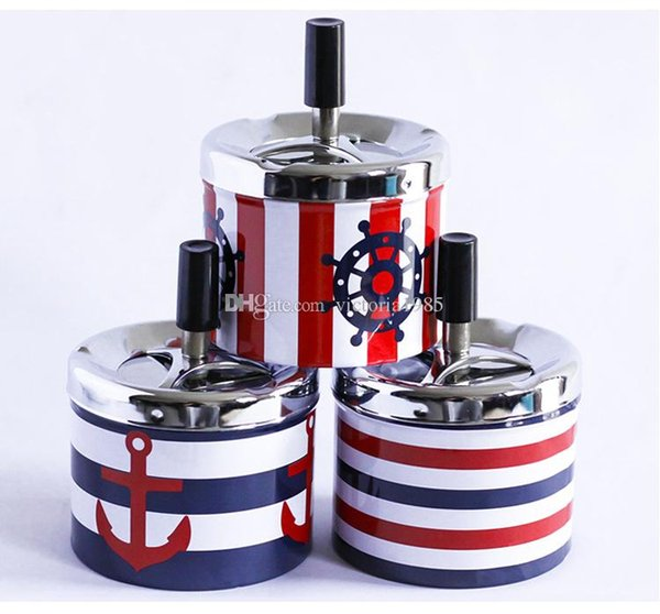 Stainless Steel Portable Ashtray Housewares Spinning With Cover Round Push Down Cigarette Ashtray with Spinning Tray Holder