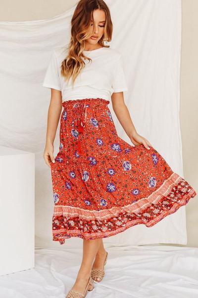비치 치마 보헤 보헤미안 치마 꽃 프린트 Faldas Largas Mujer 2019 Spodniczka 여름 휴가 Jupe Longue Femme Women Clothes