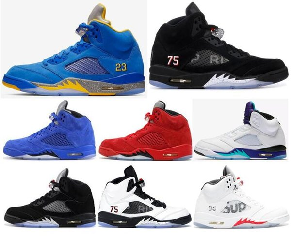 High Quality 5 Laney Varsity Royal PSG Paris Saint-Germain 75 Basketball Shoes Men 5s Raging Bull Red Blue Suede Reflect Sneakers With Box
