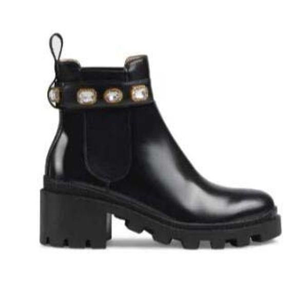 High Platform Fur designer Boots Martin for women Real leather Fashion Designer Women's Chunky Combat Booties Female