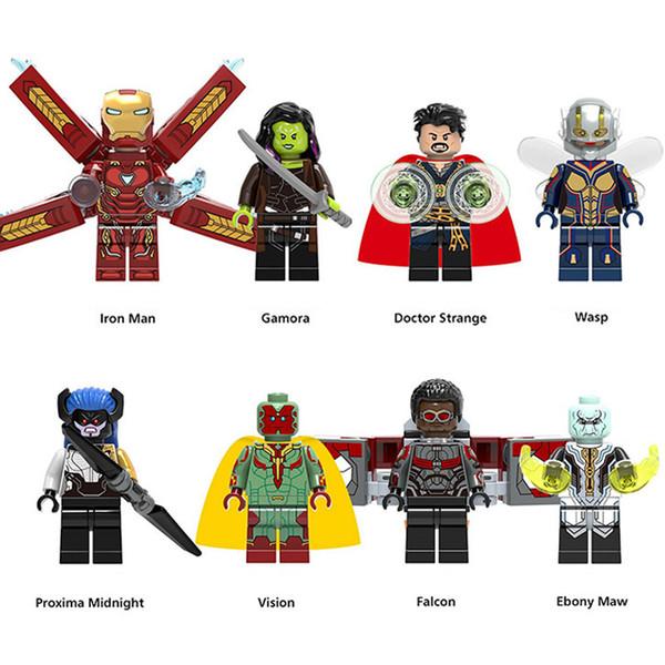 Super Hero Avengers Infinity War Gamora Iron Man Doctor Strange Wasp Vision Proxima Midnight Falcon Ebony Maw Mini Toy Figure Building Block