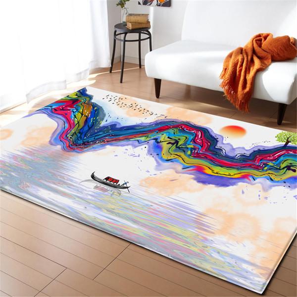 Großhandel Moderne Bunte Tuschemalerei Teppich Tisch Bereich Teppich  Kinderzimmer Dekoration Teppich Matte Heimtextilien Wohnzimmer Flanne Große  ...