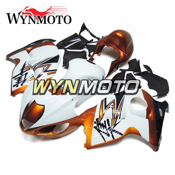 Motorcycle Fairings For Suzuki GSXR1300 Hayabusa 1997 1998 1999 2000 2001 2002 2003 2004 2005 2006 2007 White Gold ABS Plastic Motorbike Kit