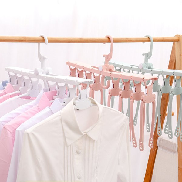 8-in-1 Multifunctional Magic Clothes Hanger Portable Foldable Rotary Anti-skid Plastic Home Adult Clothes Hanger
