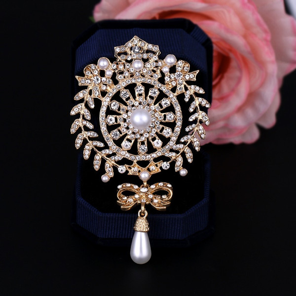 Baiduqiandu Large Size Silver / Gold Color Plated Clear Crystal Rhinestones Bow Drop Brooch Pins Jewelry Gifts For Women T190622