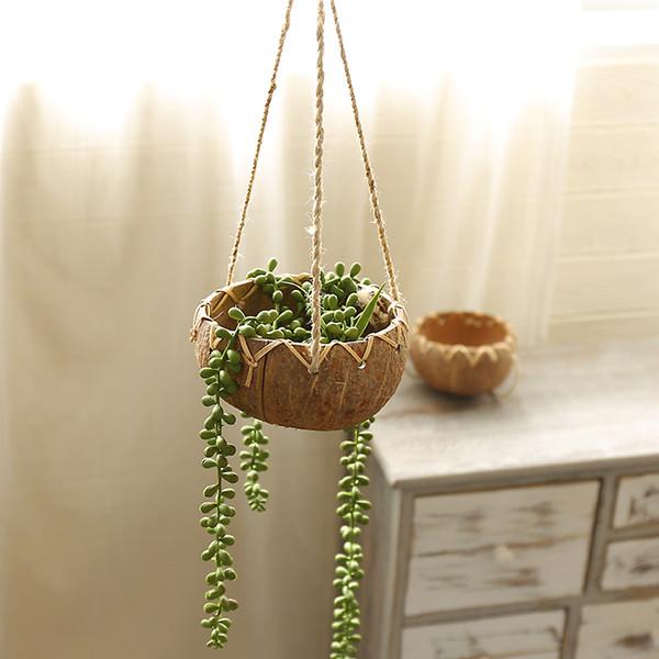 Creative Coconut Shell Hanging Basket Flower Pot Balcony Decoration Wall Hanging Succulent Plants basin wedding Vase
