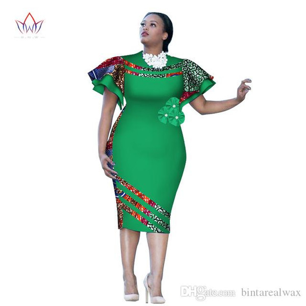 Customized African Print ClothingRuffle Sleeve Knee Dress Summer Women  Party Dresses Plus Size African Clothing 6XL BRW WY2409 Black Ladies Dress  ...