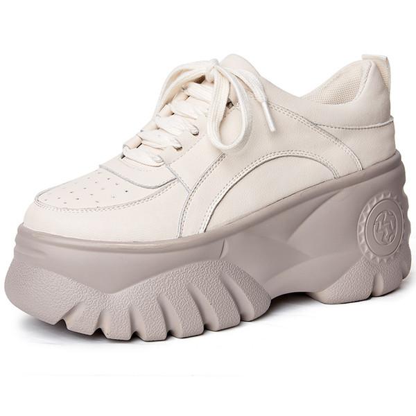 2019 Nouvelle épaisseur inférieure augmentée Chaussures simples Chaussures de course pour femme Douce cuir de vachette sauvage épaisse plate-forme 8.5 cm